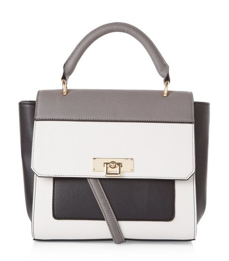 Black Colour Block Satchel | New Look