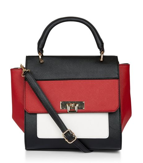 Red Colour Block Satchel | New Look