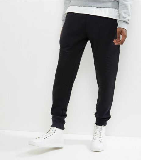 Black Ribbed Panel Joggers | New Look