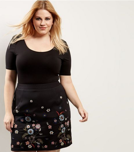 Curves Black Floral Embroidered A-Line Skirt | New Look