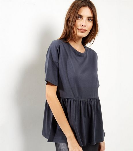Dark Grey Frill Hem Short Sleeve Top  | New Look