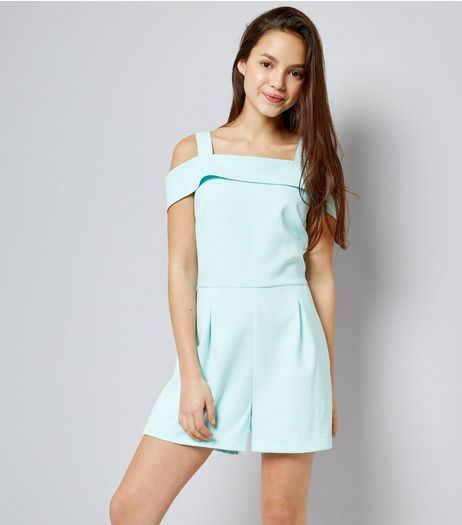 Teens Mint Green Cold Shoulder Playsuit | New Look