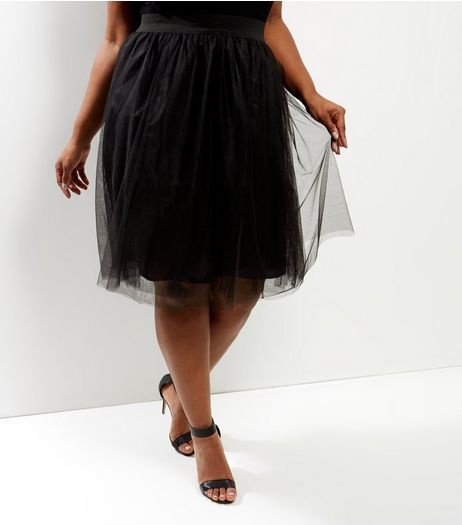 Curves Black Tulle Midi Skirt | New Look
