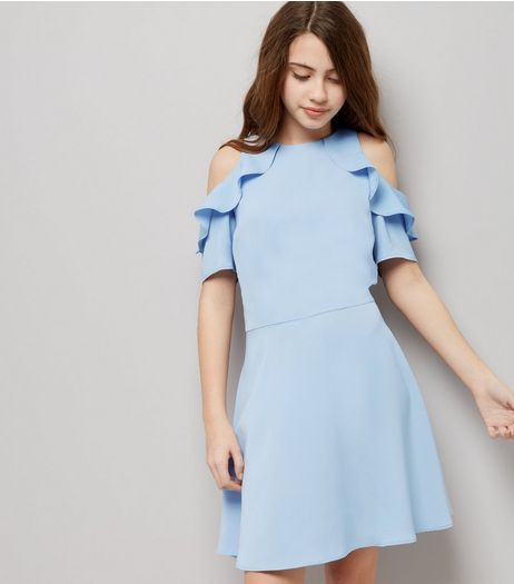 Teens Pale Blue Cold Shoulder Frill Trim Skater Dress | New Look