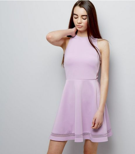 Teens Lilac Mesh Panel Scuba Skater Dress | New Look