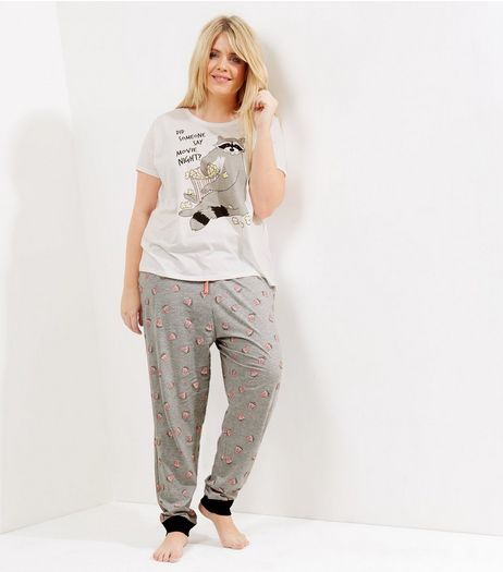 Curves White Movie Night Pyjama Set | New Look