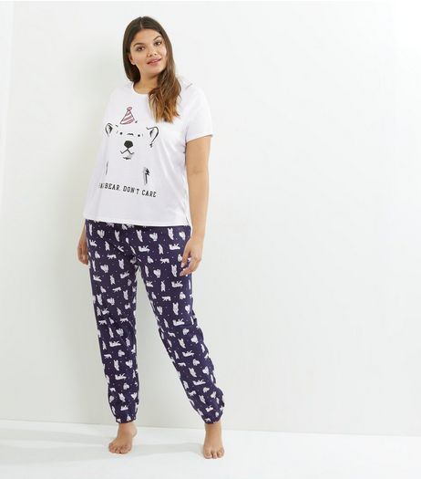Curves White Party Bear Pyjama Set | New Look