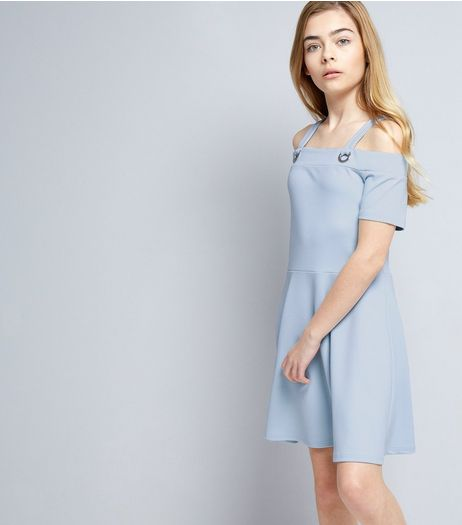 Teens Pale Blue Crepe Eyelet Cold Shoulder Skater Dress | New Look