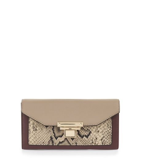 Red Snakeskin Texture Panel Foldover Purse | New Look