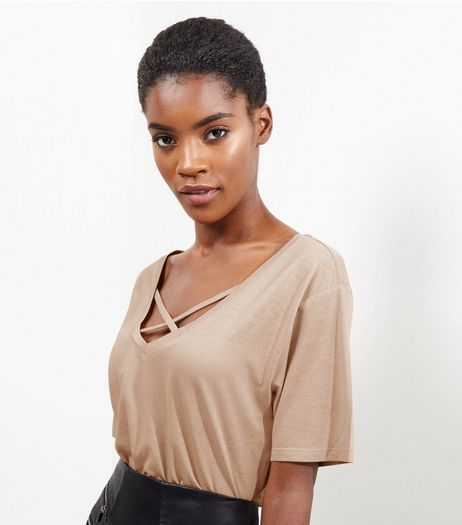 Light Brown Cross Front V Neck T-Shirt | New Look