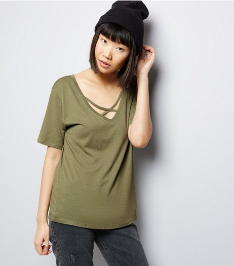 Olive Green Cross Strap Front T-Shirt | New Look