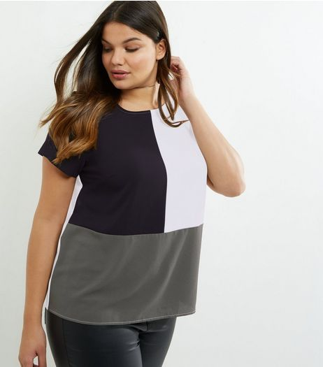 Curves Green Colour Block T-Shirt | New Look