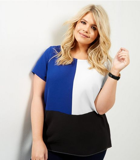 Curves Blue Colour Block T-Shirt | New Look