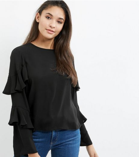 Black Frill Trim Layered Long Sleeve Top  | New Look