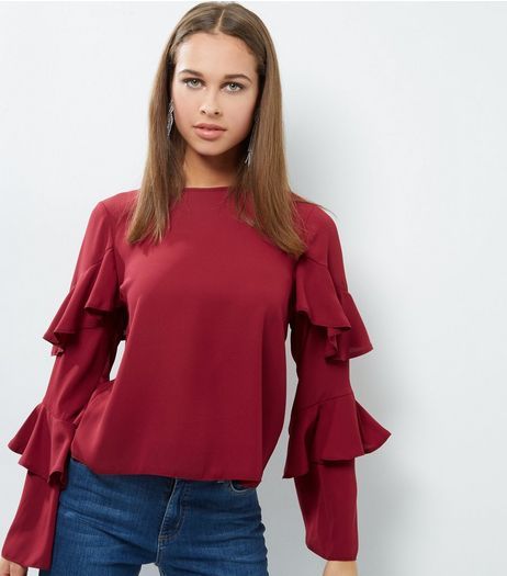 Burgundy Frill Trim Layered Long Sleeve Top | New Look