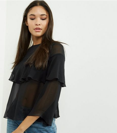 Black Layered Frill Trim 3/4 Sleeve Top  | New Look