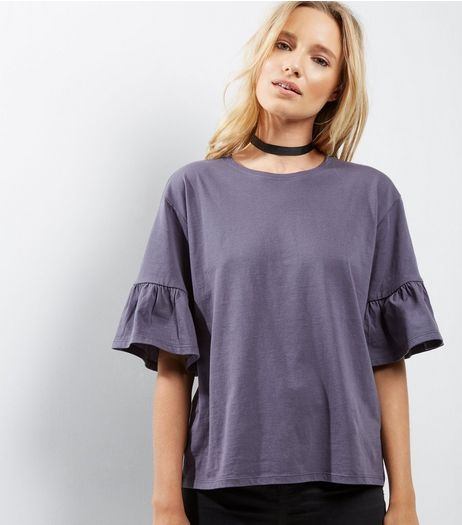 Dark Grey Frill Sleeve T-Shirt | New Look