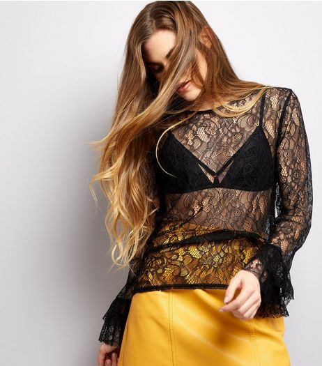 Black Lace Bell Sleeve Top  | New Look