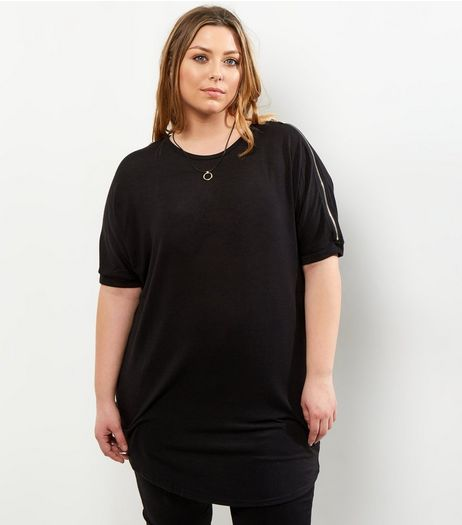 Curves Black Zip Cold Shoulder Top | New Look