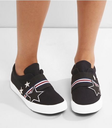 Black Embroidered Star Slip On Plimsolls | New Look