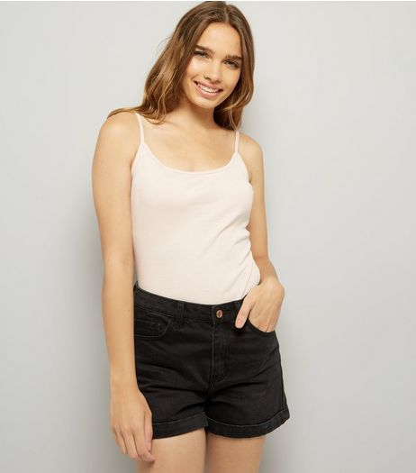 Mid Pink Shoestring Strap Cami Top  | New Look