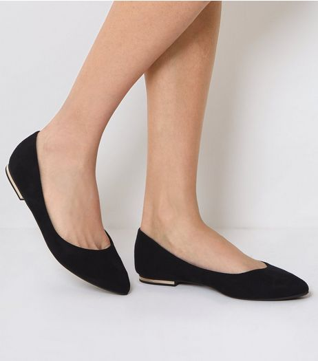 Black Suedette Metal Trim Pointed Pumps | New Look