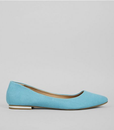 Mint Green Suedette Metal Trim Pointed Pumps | New Look