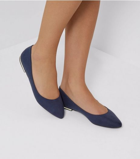 Blue Suedette Metal Trim Pointed Pumps | New Look