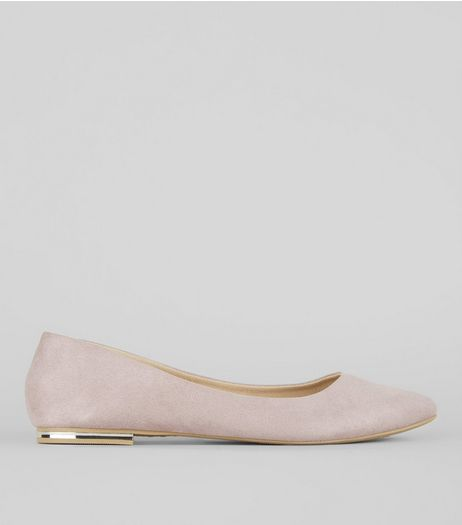 Lilac Suedette Metal Trim Pointed Pumps | New Look