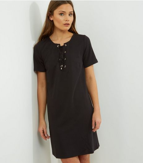 Black Eyelet Trim Lattice Front T-Shirt Dress  | New Look