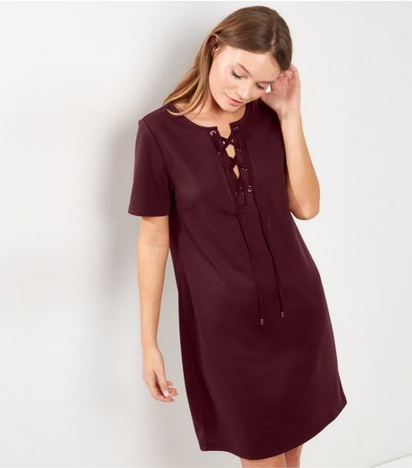 Burgundy Eyelet Trim Lattice Front T-Shirt Dress  | New Look