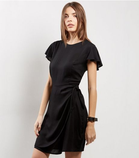 Black Frill Trim Tie Waist Wrap Front Skort Dress | New Look
