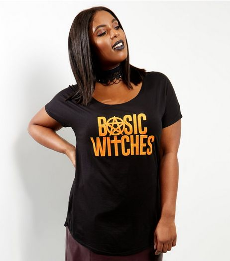 Curves Black Basic Witches Foil Print T-shirt | New Look