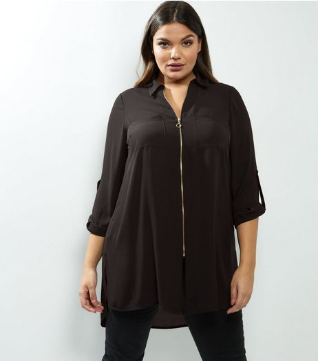 Curves Black Zip Front Longline Shirt | New Look