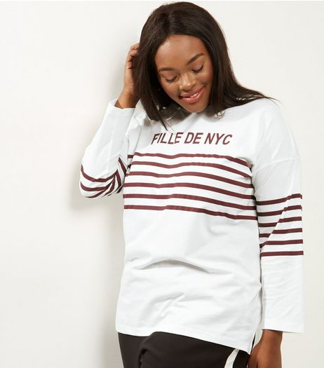 Curves White Stripe NYC Print Long Sleeve T-shirt | New Look