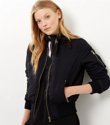 Blue Vanilla Black Twill Gathered Back Bomber Jacket | New Look