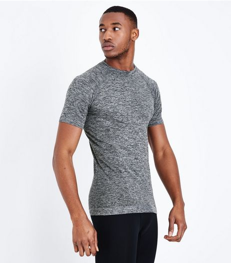 Grey Seamless Short Sleeve Sports T-Shirt | New Look
