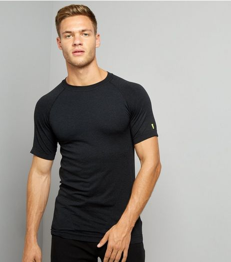 Black Seamless Short Sleeve Sports T-Shirt | New Look