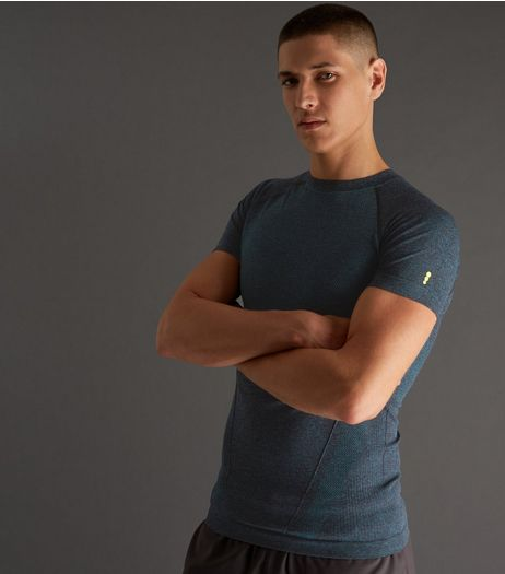 Petrol Blue Seamless Short Sleeve Sports T-Shirt | New Look