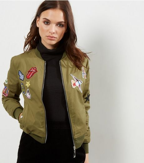 Blue Vanilla Olive Green Badge Embroidered Bomber Jacket | New Look