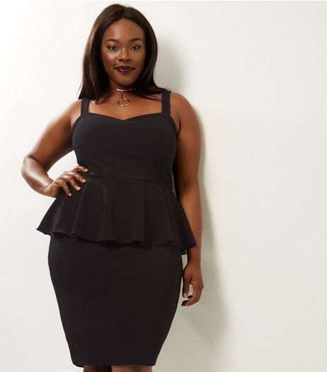 Curves Black Peplum Midi Dress | New Look