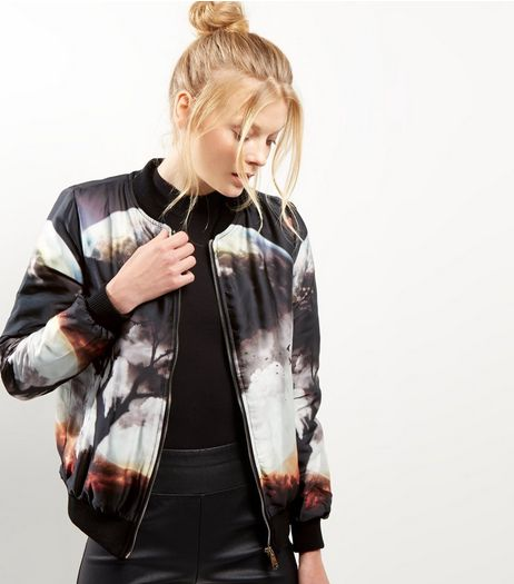 Blue Vanilla Black Moon Print Bomber Jacket  | New Look