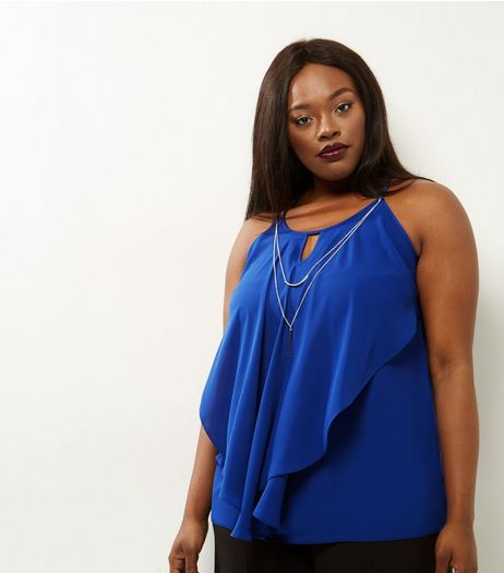 Curves Bright Blue Frill Front Necklace Top | New Look