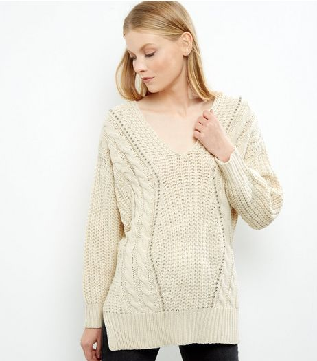 Blue Vanilla Cream Cable Knit Jumper | New Look
