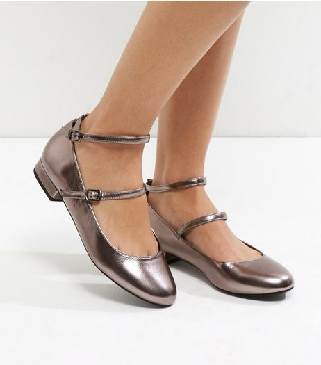 Wide Fit Pewter Metallic Double Strap Block Heel Pumps | New Look