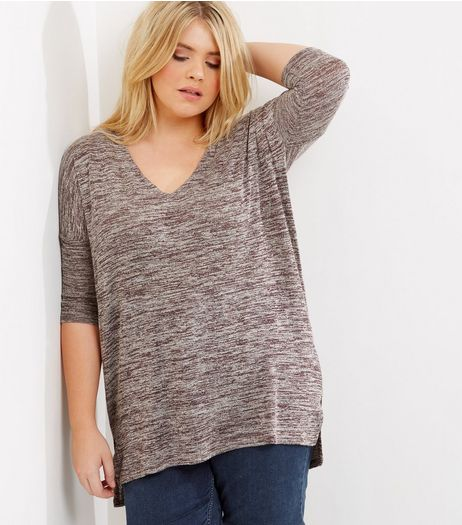Curves Burgundy Fine Knit Lattice Back Top | New Look