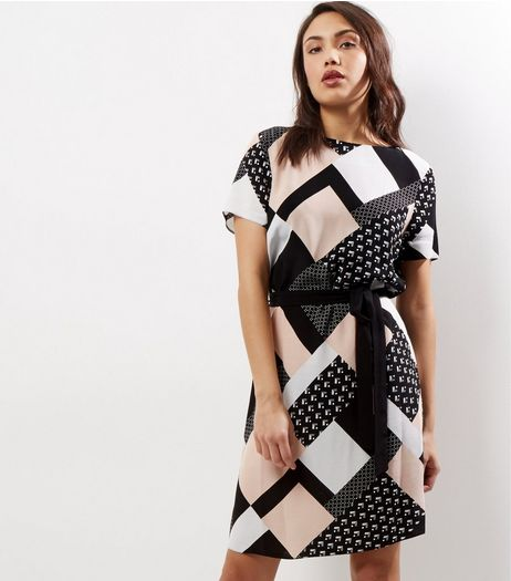Tall Black Geo Print Belted Tunic Dress | New Look