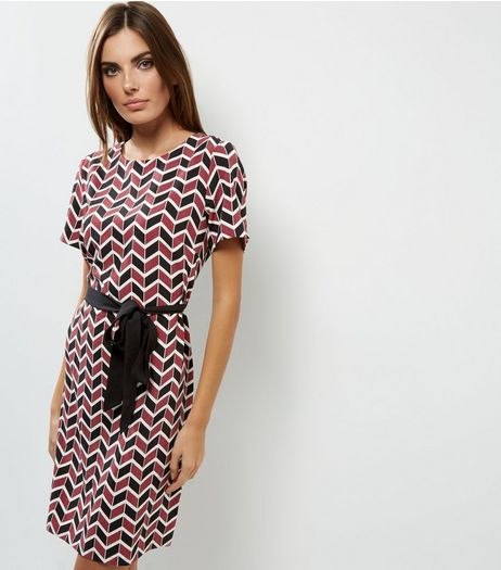 Tall Red Geometric Print Belted Tunic Dress | New Look
