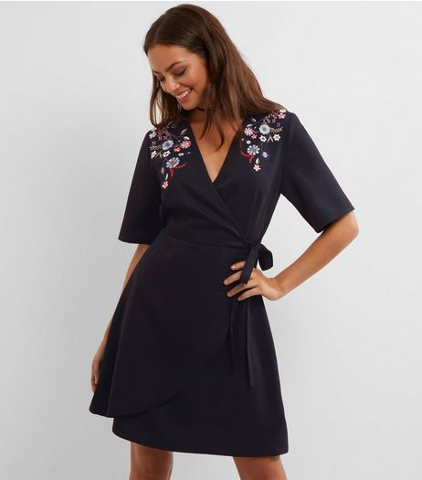 Tall Black Floral Embroidered Wrap Front Dress | New Look