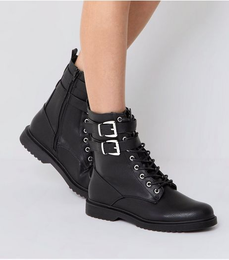 Black Lace Up Buckle Strap Boots | New Look